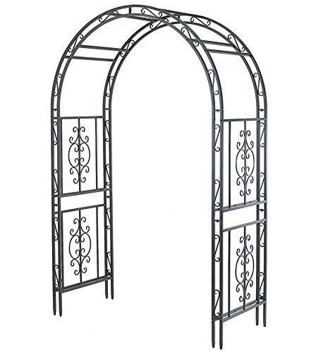 Montebello Decorative Garden Arbor Trellis, Scroll Design, Tubular Iron Structure with 7-Inch Ground Stakes, 53 W x 23 D x 84 H Burnished Bronze Finish (Designs Arbor Garden)