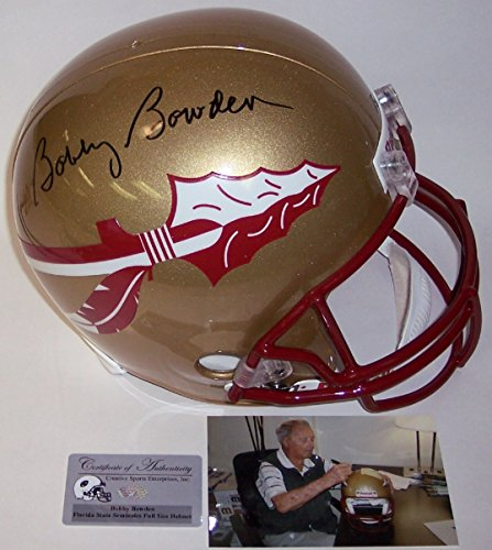 Bobby Bowden Autographed Hand Signed FSU Florida State Seminoles Full Size Football (Autographed Football Helmet)