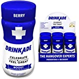 DrinkAde Boost - Energy, Hydration & Liver Detox | Caffeine, Electrolytes, Vitamin B, Milk Thistle, Green Tea Extract | Only 5 calories | Vegan, Caffeine-Free, Non-GMO | Was Never Too Hungover | 6pack