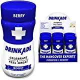 DrinkAde Boost (6 Pack) Hangover Prevention & Recovery w/Caffeine, Electrolytes, Vitamin B, Milk Thistle for Energy, Hydration & Liver Detox, Only 5 Calories, No Sugar, Vegan, Non-GMO