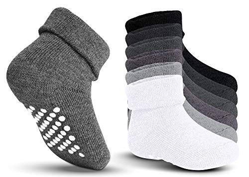 Kids Grip Socks - Non Skid & Non Slip Crew Socks with Grip Soles & Foldable Cuff Top for Baby, Toddler, Boys, Girls - Comfy, Cozy, Soft, Warm Cotton Socks for Hospitals, Winter & More (6 Pairs)