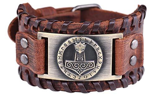 Vintage Amulet Gothic Nordic Myth Thor's Hammer Viking Runes Celtic Irish Knot Brown Leather Belt Buckle Bracelet (Brown Leather, Antique Bronze)