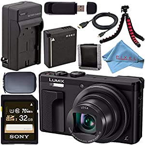 Panasonic Lumix DMC-ZS60 Digital Camera (Black) DMC-ZS60-K + DMW-BLG10 Lithium Ion Battery + External Rapid Charger + Sony 32GB SDHC Card + Small Case + Flexible Tripod Bundle