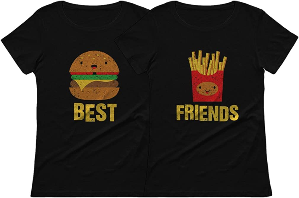 Best Friends Set BFF Shirt Set Burger & Fries Junk-Food Matching Women T-Shirts