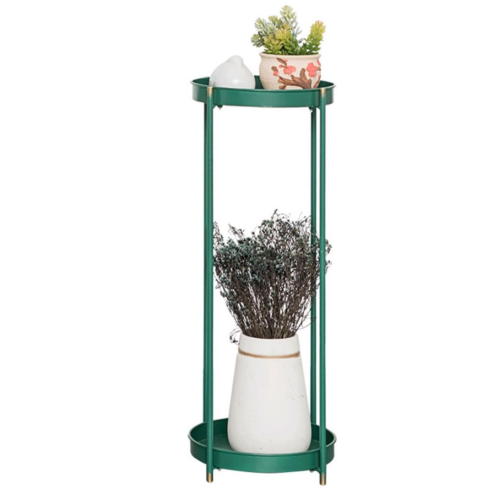 CHX Stand per fiori in ferro battuto a più piani per balconi (colore   Jade verde, dimensioni   L24.8CMH64CM)
