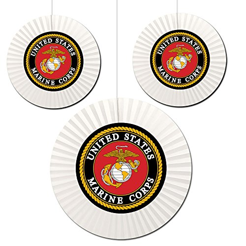 Marine Corps Decorations (US MARINE CORPS FAN DECORATIONS (3 COUNT -1-16 INCH AND 2-12 INCH) by Partypro)