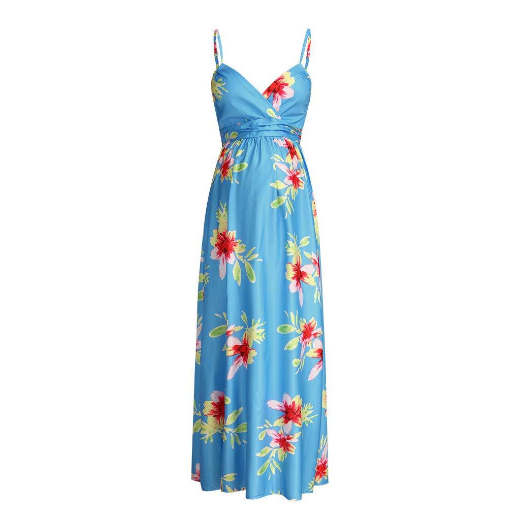 Juliyues Umstandskleid Festlich Lang Damen Strap Blumendruck Schwangerschaft Kleid Stillkleid Mutterschaft Sommerkleid Maternity Dress Umstandskleidung