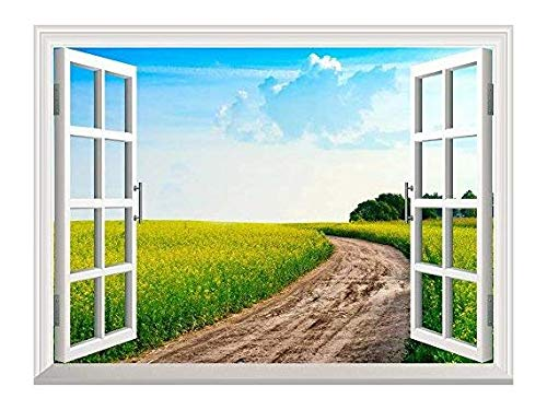 Removable Wall Sticker Wall Mural Peaceful Summer Rural Landscape in Wide Field with Country Road Creative Window View Wall Decor