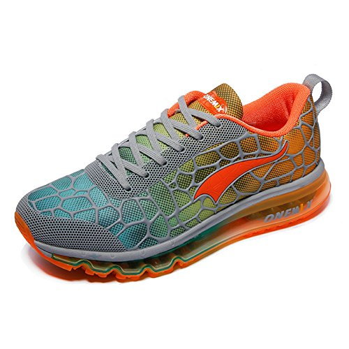 Image of the ONEMIX Men's Lightweight Air Cushion Sport Running Shoes Grey Orange Size 11