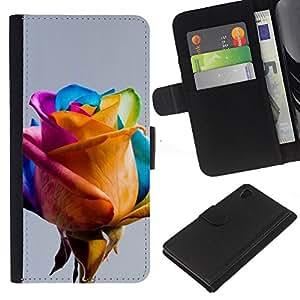 Colorido amarillo azul rosado de la primavera- la tarjeta de Crédito Slots PU Funda de cuero Monedero caso cubierta de piel Para Sony Xperia Z3 Plus / Z3+ / Sony E6553 (Not Z3)
