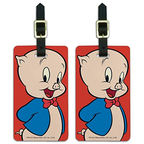 Looney Tunes Porky Pig Luggage ID Tags Suitcase Carry-On Cards - Set of 2
