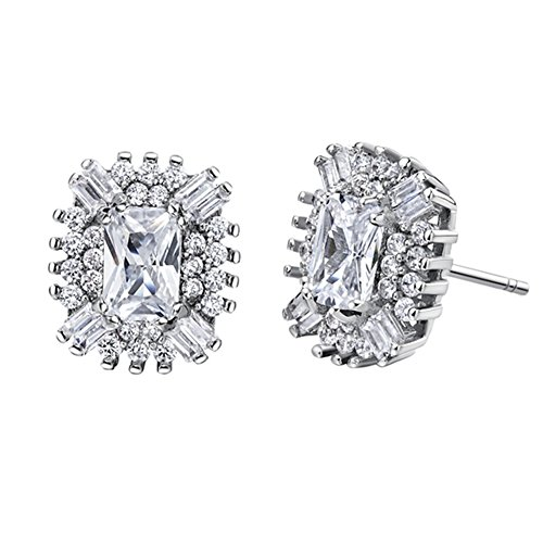 FENDINA Vintage Women 18K White Gold Plated Multi Birthstone Earring Studs Cushion Cut CZ Paved Created Diamond Earrings for Girls