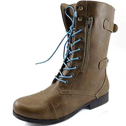 Dailyshoes Womens Military Combat Bootie Lace Up Cinturino Alla Caviglia Con Cerniera Posteriore Stivali Stivali Color Cammello, Lacci Blu