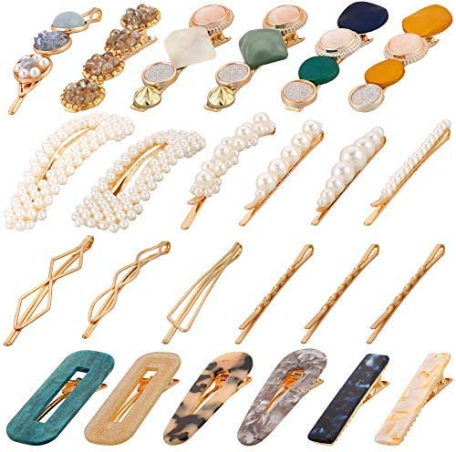 DragonflyDreams 24 Pcs Pearl Hair Clips, Sweet Hair Barrettes Fashion Style Hair Clips Pearl Macaron Acrylic Resin Barrettes Headwear Styling Tools for Women Girls Ladies Party Wedding Daily [並行輸入品]