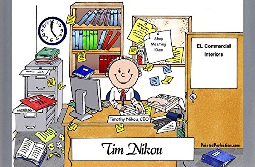 Personalized Friendly Folks Cartoon Caricature Side Slide FrameGift: Messy Office - Male Great for administrative assistant, accounts, clerk, business owner, manager, school principal, counselor