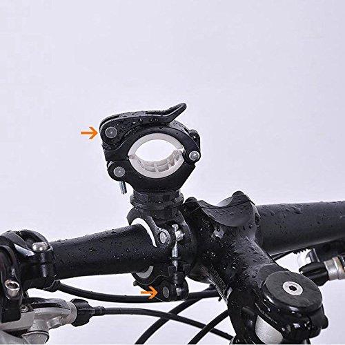 JVSISM 360 Grados Bicicleta giratoria luz de la Bicicleta Doble Soporte LED Frontal Linterna lampara Manejar de la Bomba Accesorios de Bicicleta Negro Blanco