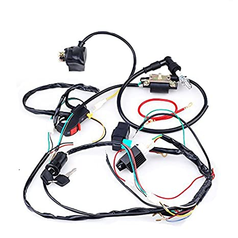 amazon com: cisno complete electrics cdi coil wiring loom harness kick for  50cc 110cc 125cc atv dirt bike: automotive