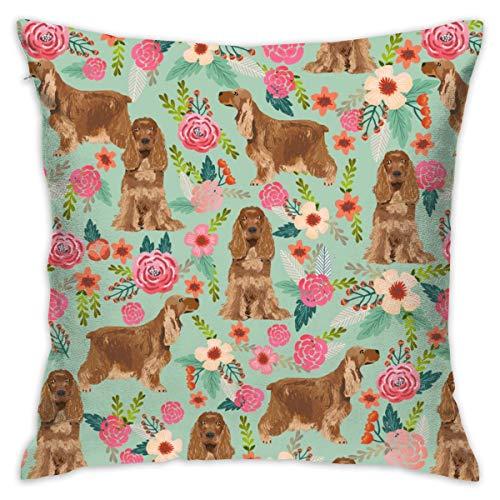 YANAIX Pillowcases Cocker Spaniel Florals Dog Fabric Floral Flowers Dog Pattern - Mint_570 Decorative Pillow Case Home Decor Pillowcase (18x18 Inches) Colourful
