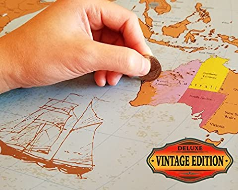 Scratch Off World Map - Vintage Deluxe - States & Provinces for US, Canada, Australia - XL Large Poster 24x36 Easy to Frame - Classic Gift - Free Precision Pen & Fun Trivia - Detail Map