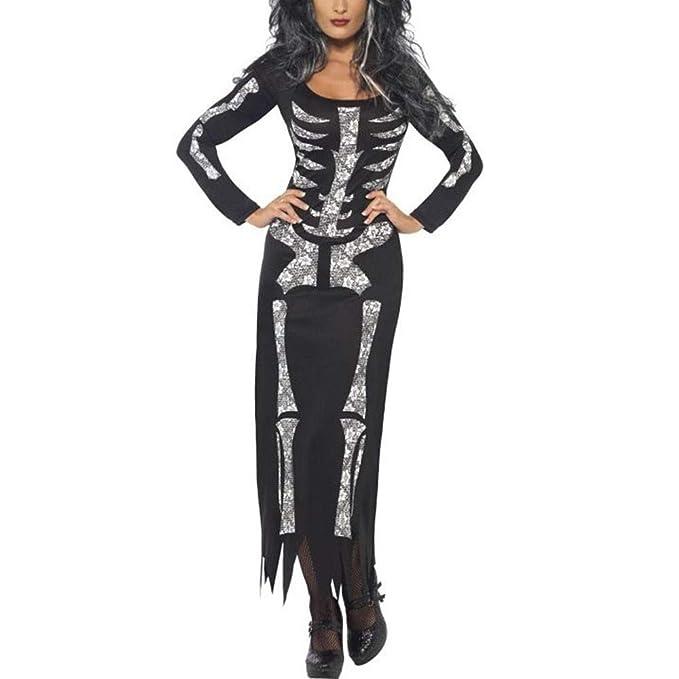 Vestido Fiesta Halloween Horror Esqueleto Novedad Invierno Cuello Redondo Manga Larga Falda Recta