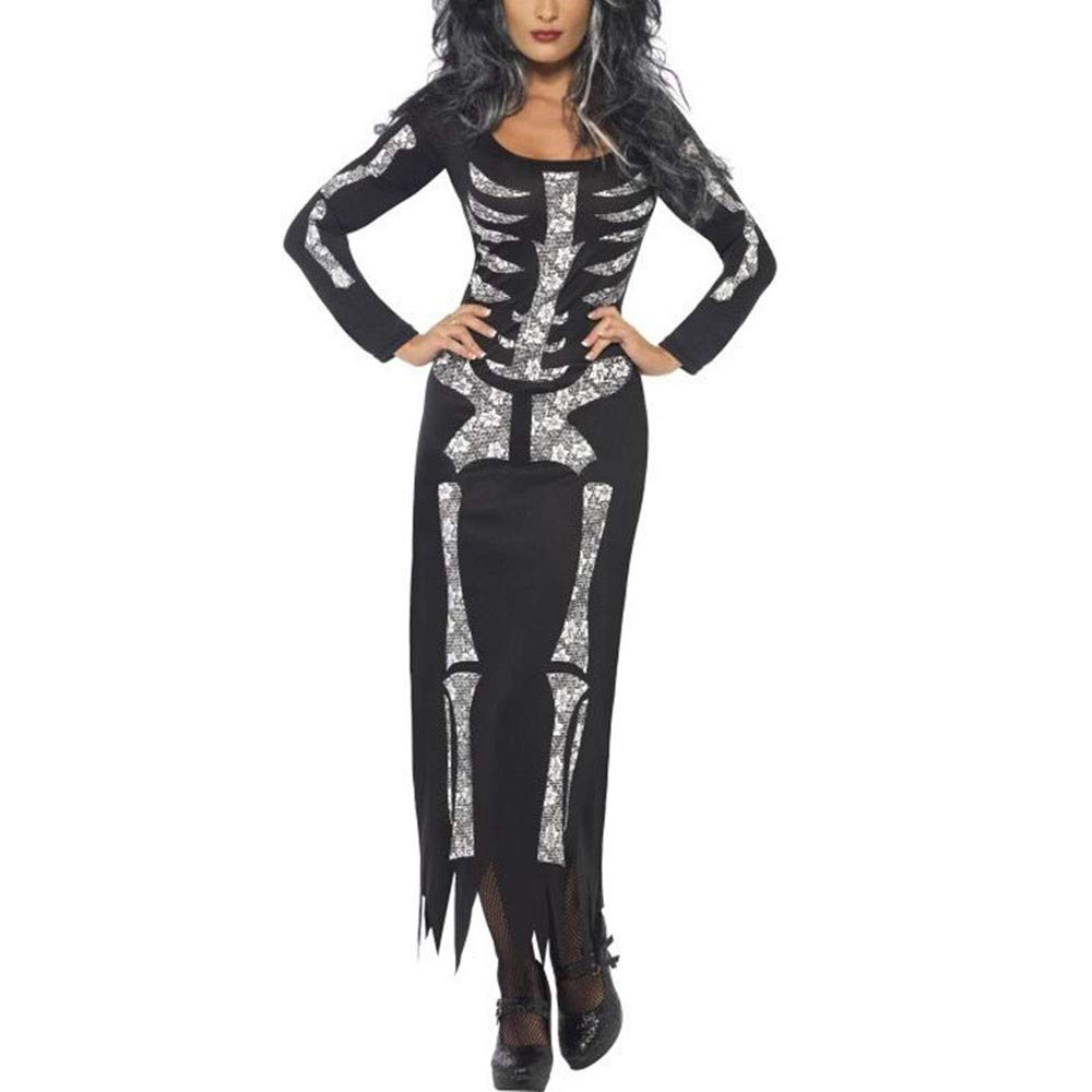 Ulanda 2018 New Women Halloween Ghost Festival Horror Skeleton Costume Holiday Party Club Dress