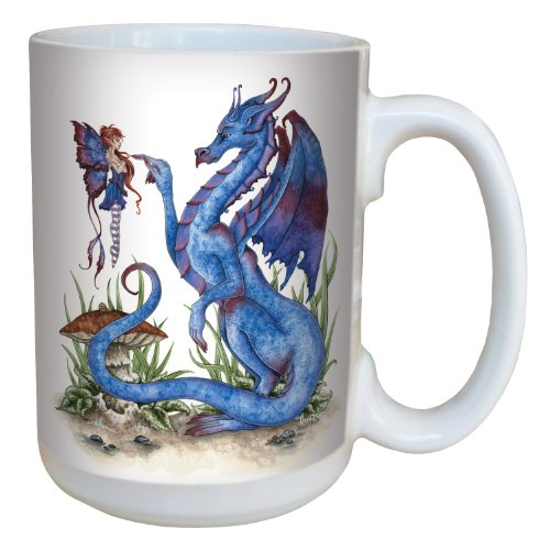 (Tree-Free Greetings lm43581 Fantasy Attitude Blue Dragon and Fairy Ceramic Mug with Full Sized Handle by Amy Brown, 15-Ounce )