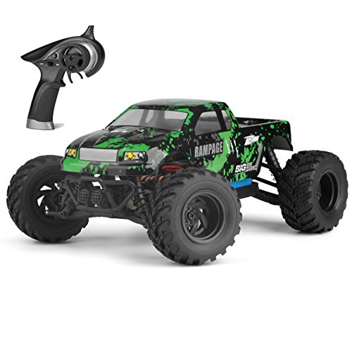 Fistone RC Car 2.4G 4WD Full Proportion 18 Mph High Speed Rampage Buggy Big Foot Electric Off Road Vehicle All Terrain Monster Truck Model RTR Hobby Car (Green)