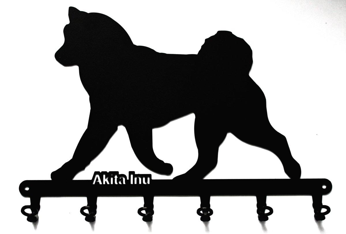 6 Ganchos para llaves Tabla//Colgador de llaves  Akita Inu Metal Perro Akita Negro Soporte de pared para llaves