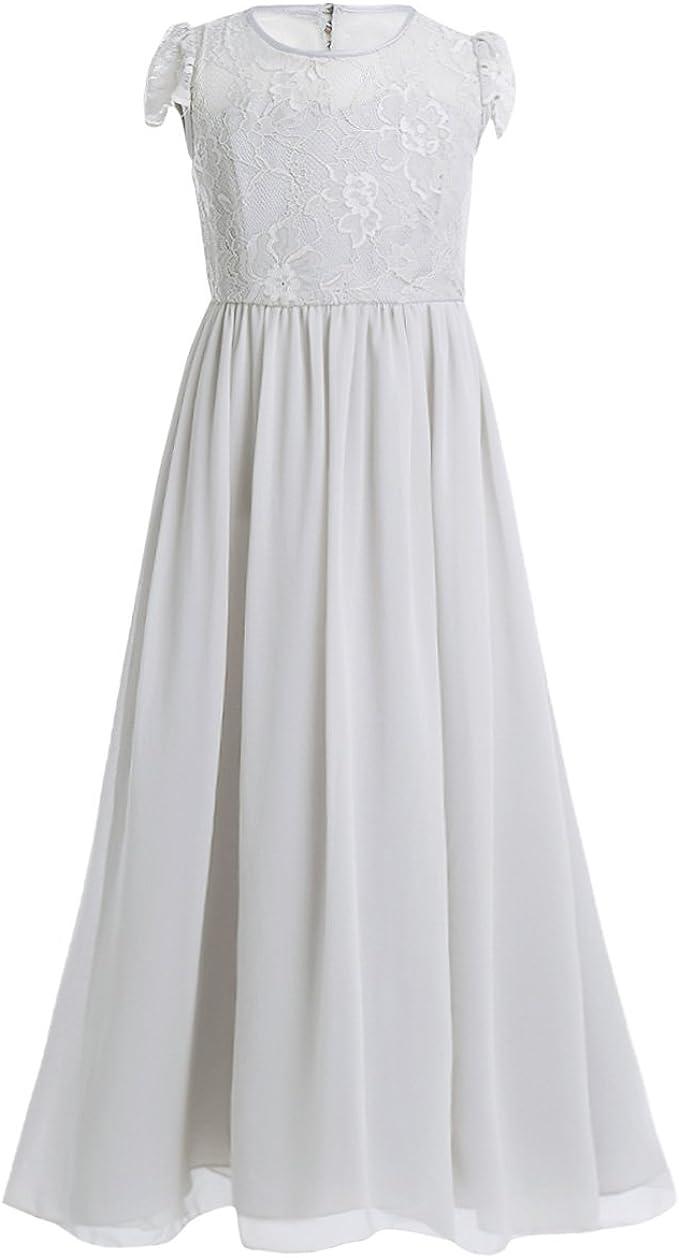 iEFiEL Mädchen festliches Kleid 10-10 Blumenmädchen Hochzeit Kleid Kinder  Brautjungfern Kleider Blumenspitze Party Kleid