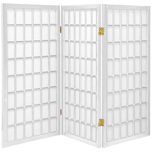 Oriental Furniture 3 ft. Tall Window Pane Shoji Screen - White - 3 Panels - Furniture White Panel