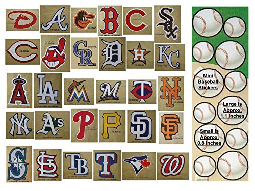 30 MLB Stickers Complete Set. Plus 24 Mini Baseball Stickers. Major League Baseball Team Logo Pack. Yankees Red Sox Dodgers Cubs Giants Tigers White Mets Angels Indians Rangers Pirates Astros Brewers ()