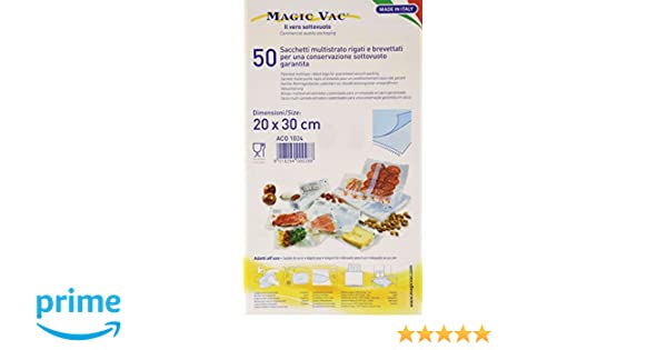 Magic Vac ACO1024 - Pack de 50 bolsas, 20 x 30 cm con etiqueta pre-impresa, Libres de BPA, se puede lavar, cocinar, usar en nevera, hervir, congelar y ...