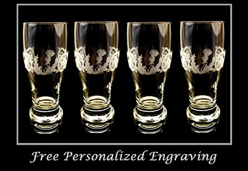 (Celtic Scottish Thistle Pint Glass Set of 4)
