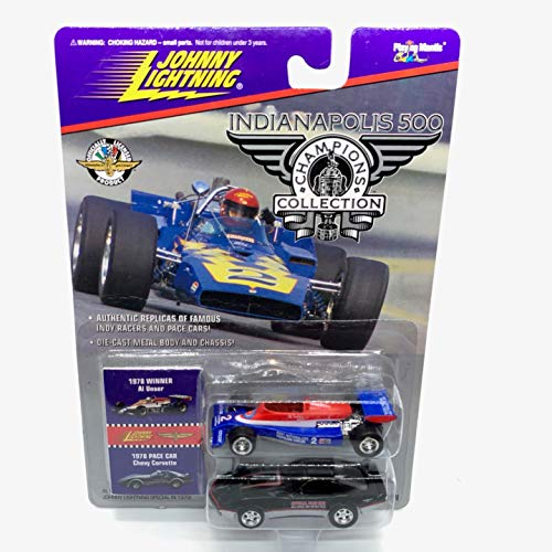 Johnny Lightning 1978 Al Unser & Chevy Corvette Pace Car (Black) Indianapolis 500 Champions Series 2 1996 Playing Mantis 1:64 Scale Authentic Replicas of Famous Indy Winners Die Cast Vehicle 2-Pack ()