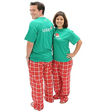 Amazon.com: Matching Christmas Pajamas Naughty-Nice 2 Sided Adult ...