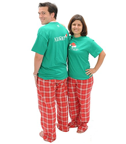 amazoncom matching christmas pajamas naughty nice 2 sided adult holiday pajama pant set playwear for kids clothing