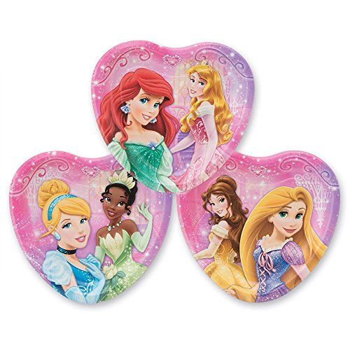 Disney Princess 8 ct Heart Shape Dessert Plates, (2 Pack) 16 Total Plates - Featuring Ariel, Snow White, Rapunzel, Tiana