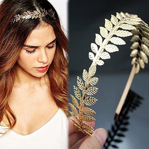 Goddess Tiara - SALOCY Headbands Leaf Branch Bridal Hair Crown Head (Gold)