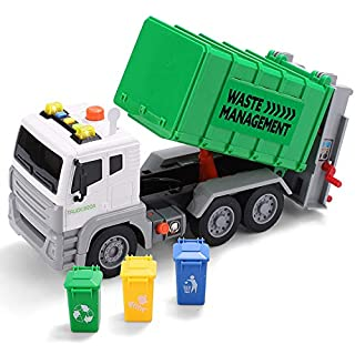 """JOYIN 12.5"""" Garbage Truck Toy Friction-Powered Waste Management Recycling Truck Toy Set with 3 Rear Loader Trash Cans, Back Bump Function, Lights & Sounds Long 1:12"""