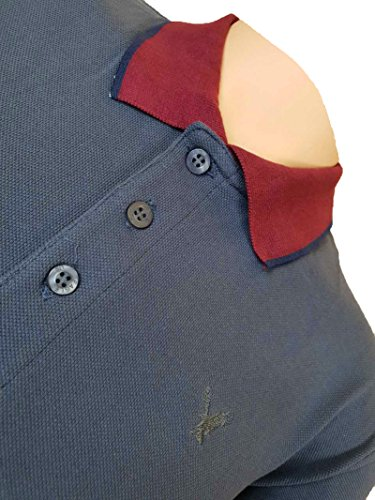 Courtes Burgundy Navy Homme American Col Eagle Boutonné Uni Outfitters Grey Polo Manches qw1vC0