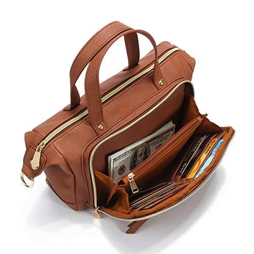 Brenice Multi Pockets Shoulder Bags Vintage Walles Motorcycle Bag For Women Brown 9.45''x 3.15''x - Organizer Shoulder