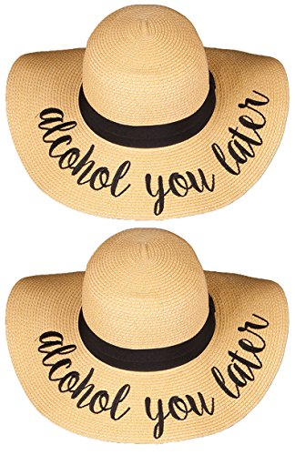 ad4f6b413425a Funky Junque Womens Friends   Family Vacation Embroidered Floppy Beach Sun  Hat Bundle