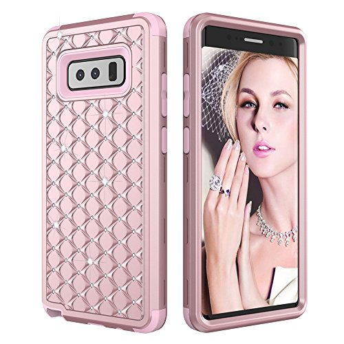 Galaxy Note 8 Case, KAMII [Diamond Series] Studded Rhinestone 3in1 Hard PC+Silicone Hybrid Shockproof / High Impact Full Body Protection Defender Case Cover for Samsung Galaxy Note 8 (Rose Gold)