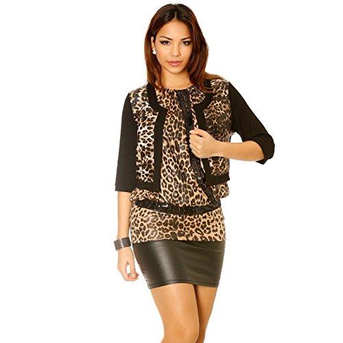 Miss Wear Line Gilet noir motif léopard brillant