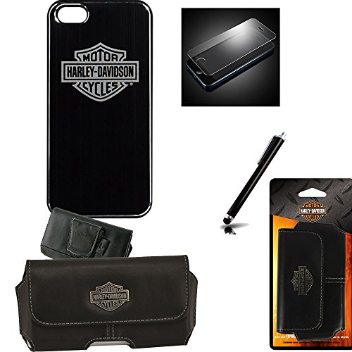 Harley Davidson Hard Shell Metal Look Logo Cover with Tempered Glass Screen Protector, Riding Case, Stylus Pen fits iPhone - Phone Metal Case Cover Faceplate