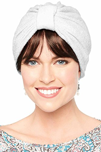 (Basic Terry Cloth Turban | Shower, Spa, Beauty Chemo Turbans for Women White)