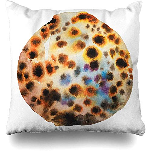 Throw Pillow Cover Summertime Watercolor Aqua Watercolour Painting Tiger Cowrie Seashell Nature Aquatic Beach Drawing Design Sea Home Decor Square 18x18 Inch Inch Cushion -