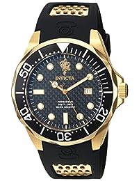 Invicta Men's Sea Base Gold-Tone Polyurethane Band Steel Case Swiss Quartz Black Dial Analog Watch 17969