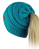 C.C BeanieTail Soft Stretch Cable Knit Messy High Bun Ponytail Beanie Hat, Teal
