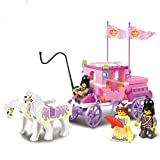 New Educational Toys A Princess and 2 Knights with 2 White Horses and Pink Carriage Play Set Model Building Blocks Set Model Minifigures Bricks Toys for Children Gifts, ABS Plastic Multi-color